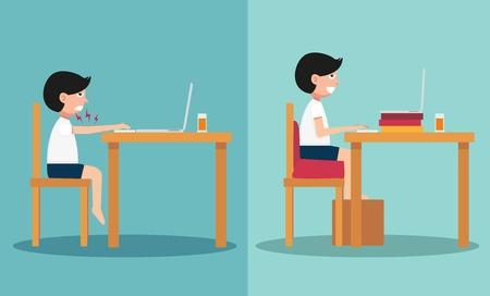 肩こりになり易い椅子の高さ、机の高さのイラスト