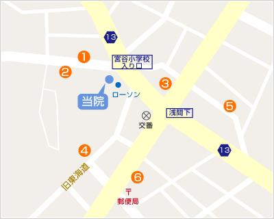 横浜市西区の整骨院「宮谷小交差点前せいこついん」への順路(横浜駅から車:コインパーキングの地図)