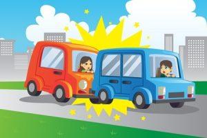 むちうち交通事故のイラスト写真