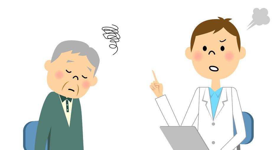 医師に説明されて困惑している患者さんのイラスト