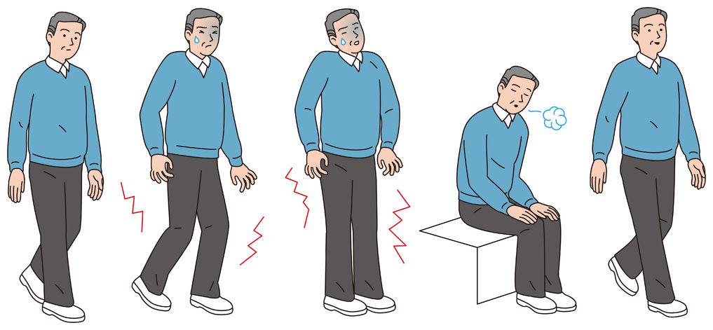 脊柱管狭窄症で腰と足が痛く歩くのが困難なイラスト