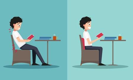 頭痛改善の正しい座り方をしているイメージ図