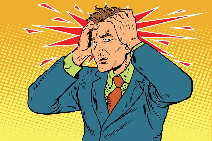 クモ膜下出血や脳腫瘍が原因で激しい頭痛の男性の写真